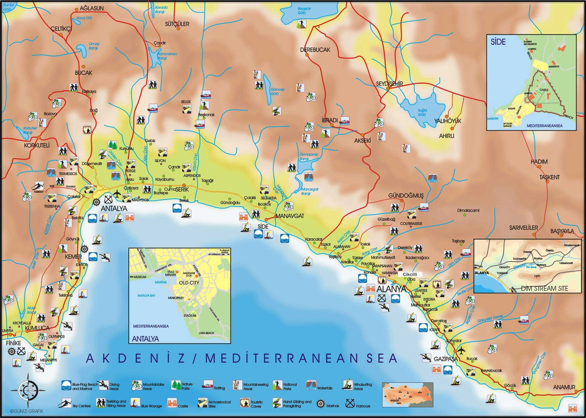 Karta Poberezhya Antalii S Dostoprimechatelnostyami Turciya
