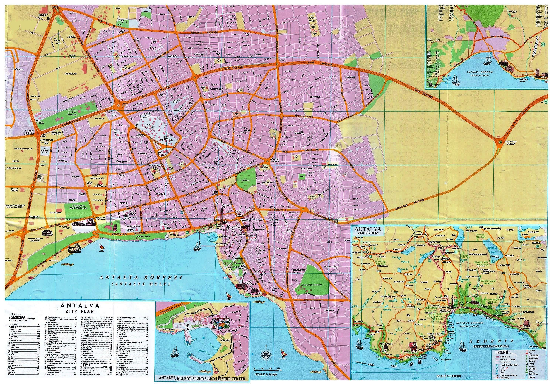 Podrobnaya Turisticheskaya Karta Antalii Ne Na Russkom Yazyke