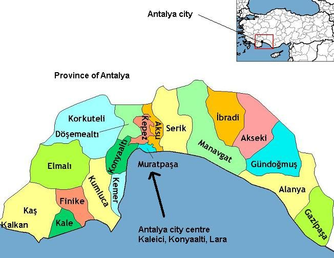 Karta Provincii Antalii S Rajonami Ne Na Russkom Yazyke