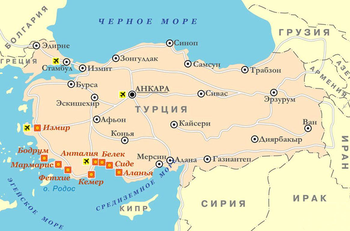 Karta Okrestnostej Antalii