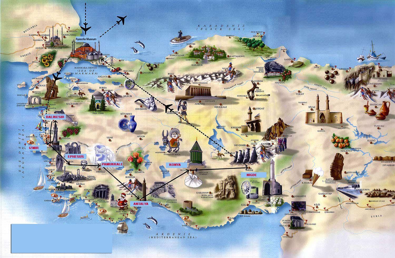 Карта Турции с достопримечательностями отели места фото