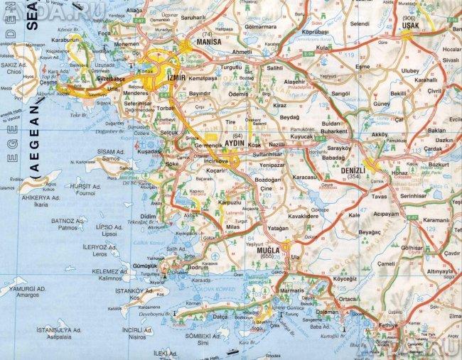 Карта эгейского побережья Турции