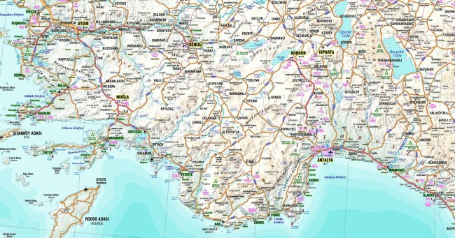 Карта южного побережья Турции