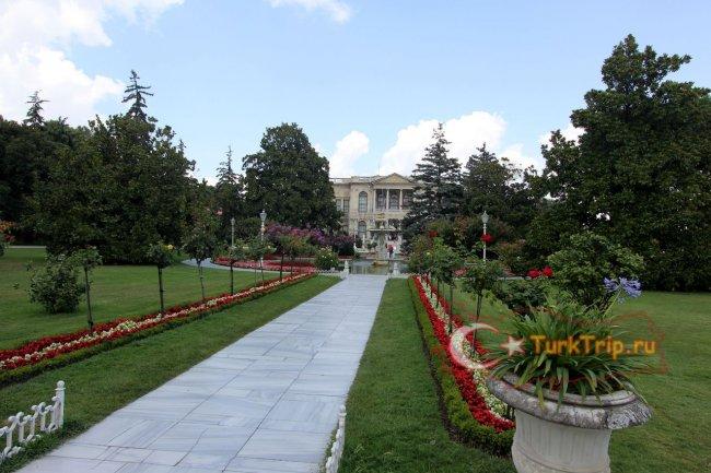 Парк Дворца Долмабахче летом