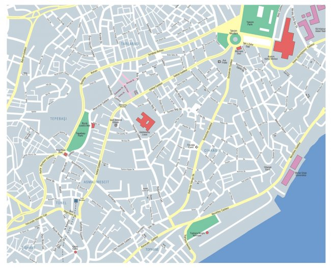 Карта района Таксим