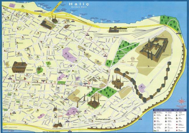 Карта исторической части Стамбула