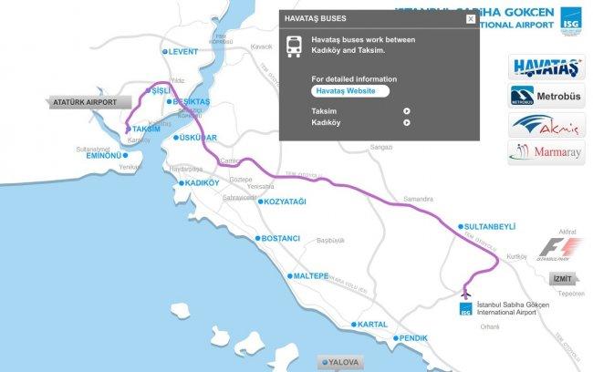 Схема движения Хаваташ из Сабихи до Таксим
