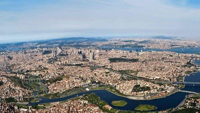 Вид сверху на Стамбул и отель