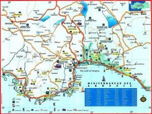 Карта анталийского побережья