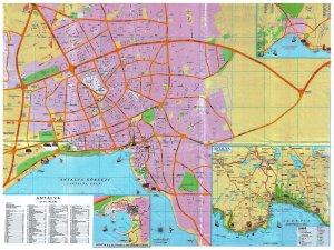 Подробная карта Анталии