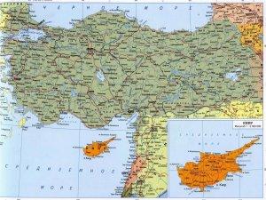 Карта Турции с соседними странами